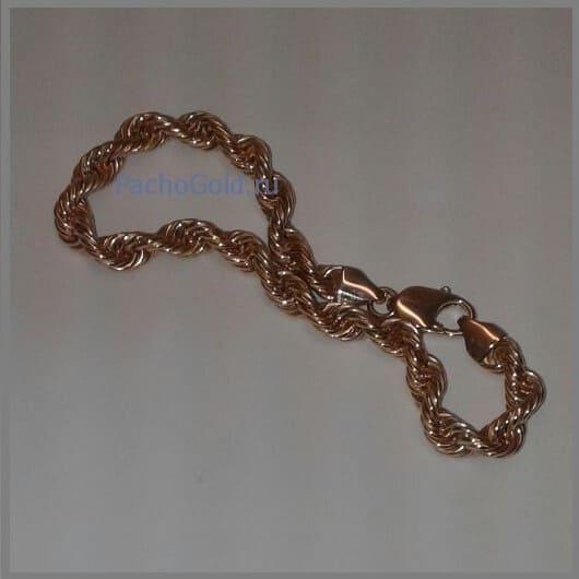 Браслет веревка из золота на заказ