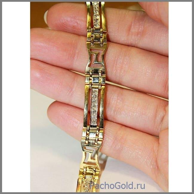 Брутальный золотой браслет Bold-Gold ручной работы