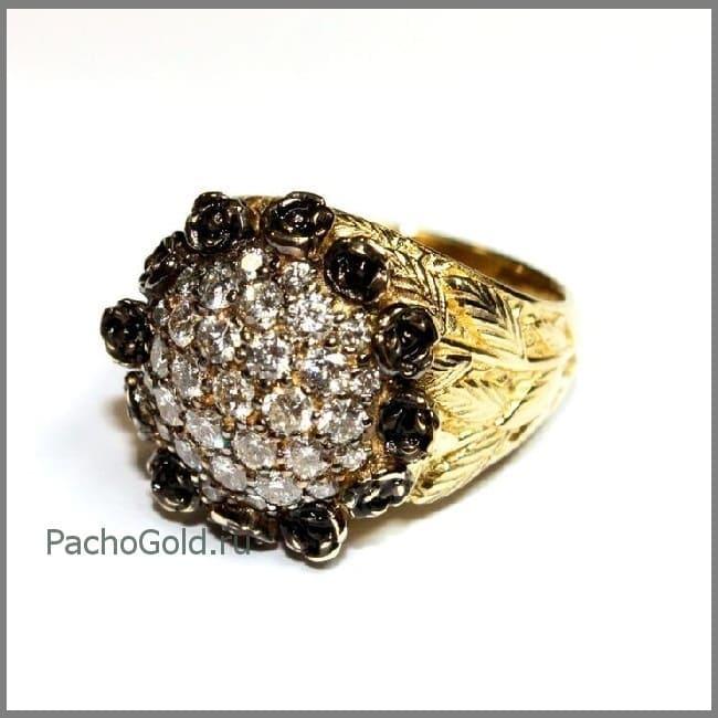 Эффектное кольцо ручной работы для женщины Черная роза