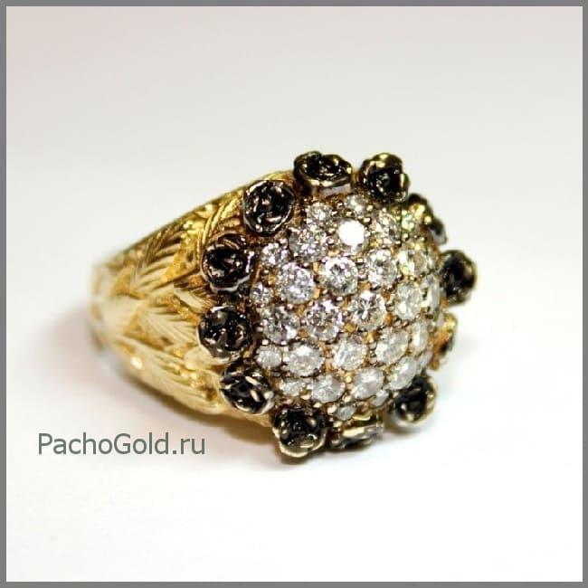 Эффектное женское золотое кольцо Черная роза с белыми и черными бриллиантами