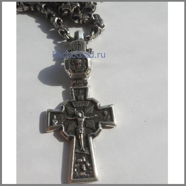 Кельтский крест из серебра с чернением