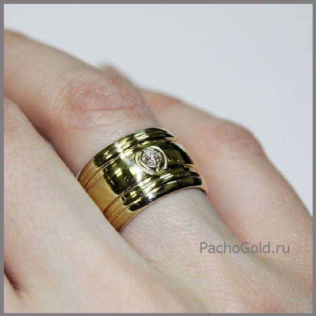 Кольцо для женщины с бриллиантом из золота Солнечная дорога