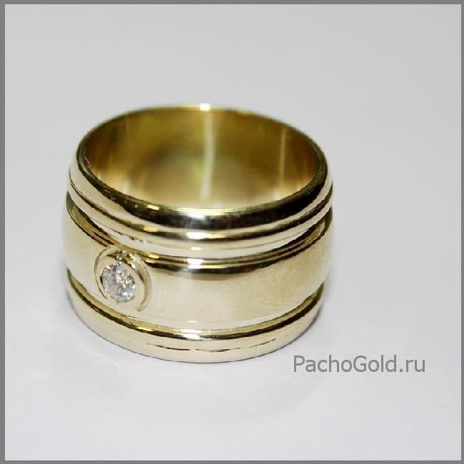Широкое кольцо с бриллиантом Солнечная дорога