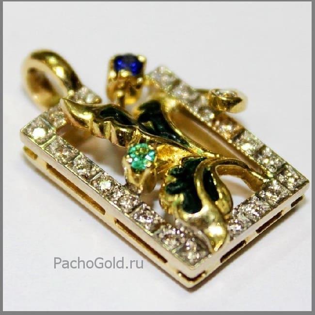 Красивый женский золотой кулон Vizit-damy-Iks