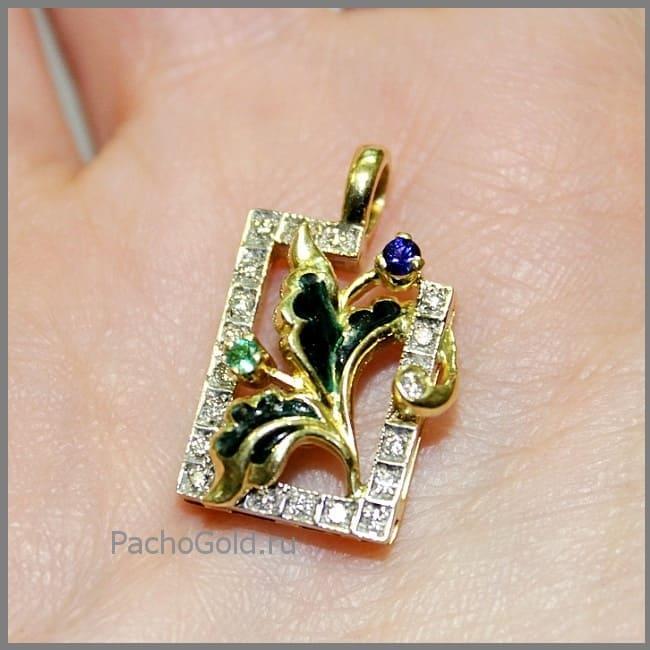 Эффектный кулон из золота, камней и эмали ручной работы Визит дамы Икс