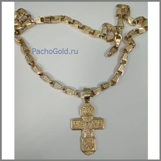 Крупный мужской золотой крест под цепочку