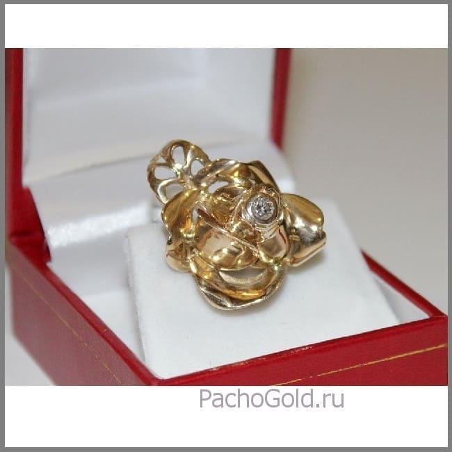 Крупное кольцо ручной работы Золотой цветок