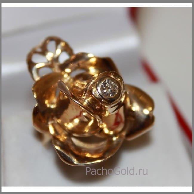 Крупное женское кольцо Золотой цветок