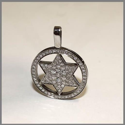 Кулон Звезда из белого золота ручной работы