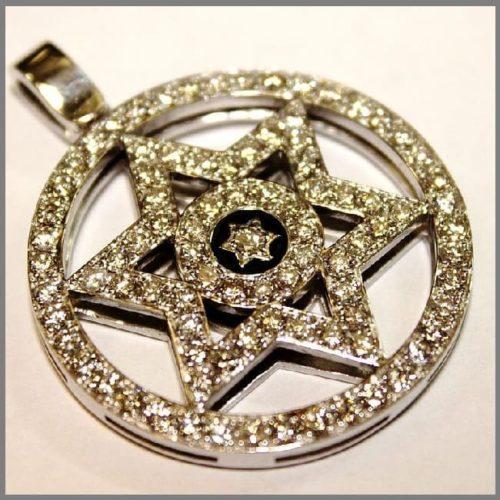 Кулон подвеска Здезда Давида из золота с бриллиантами