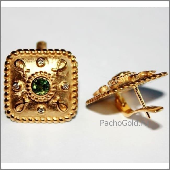 Квадратные сережки Sofia из желтого золота на заказ
