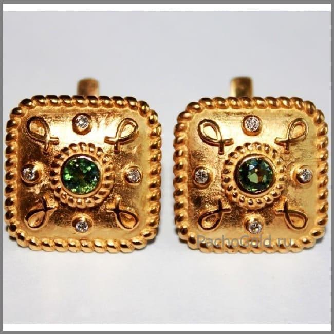 Квадратные золотые сережки Sofia ручной работы