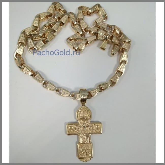 Золотой большой крест для мужчины ручной работы