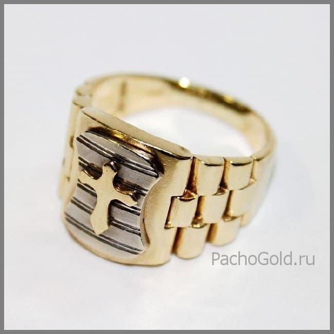Мужское кольцо с крестом Защитник