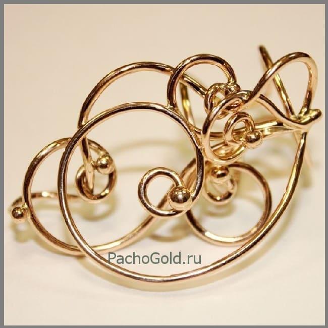 Необычное золотое кольцо ручной работы Зачарованные