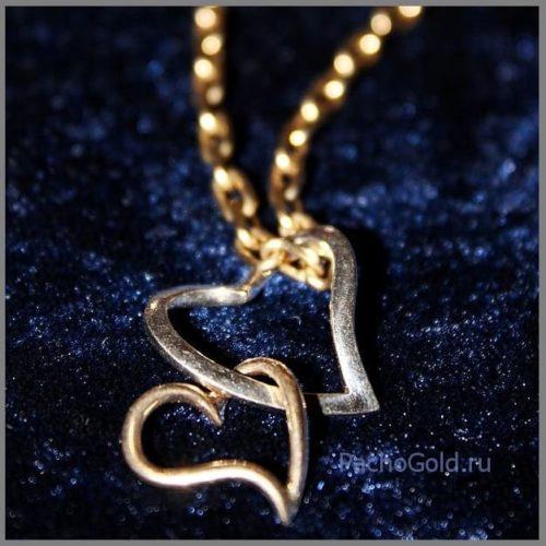 Парный золотой кулон сердце в сердце ручной работы