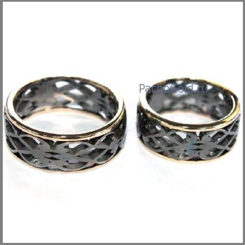 Парные обручальные кольца из золота Влюбленные
