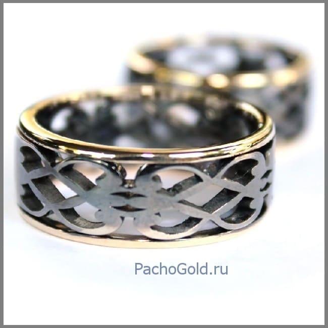 Парные обручальные кольца из золота ручной работы