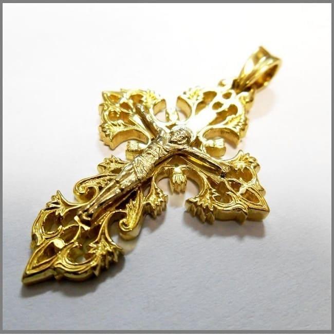 Православный золотой крест ручной работы