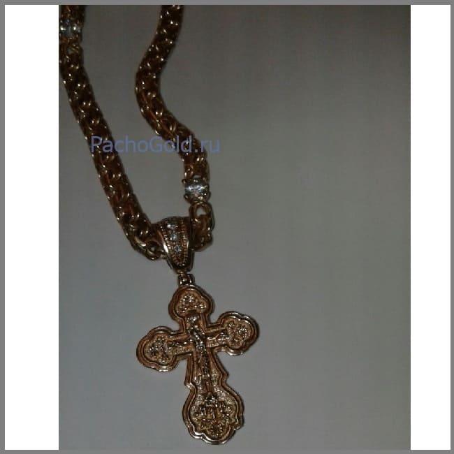 Православный женский золотой крест ручной работы
