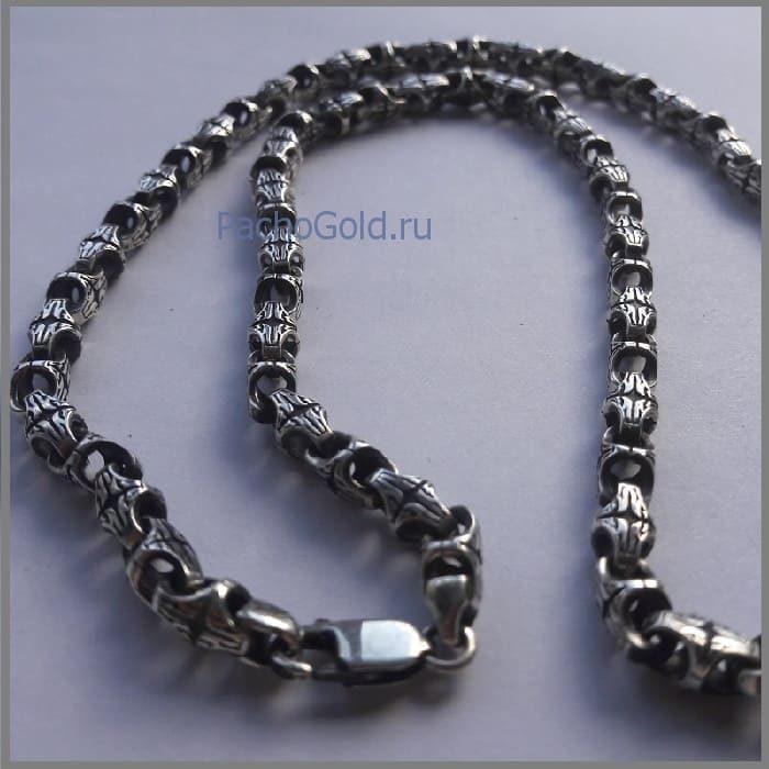 Мужская цепочка краб из серебра с чернением