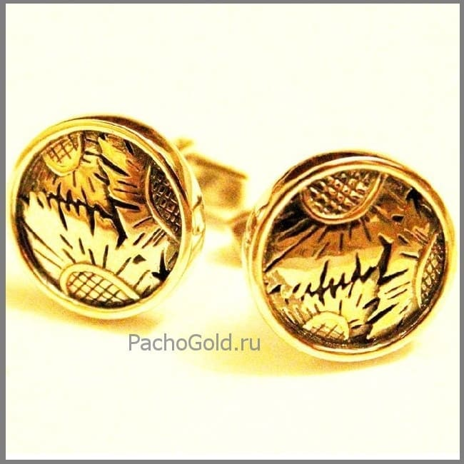 Запонки из золота Подсолнухи ручной работы
