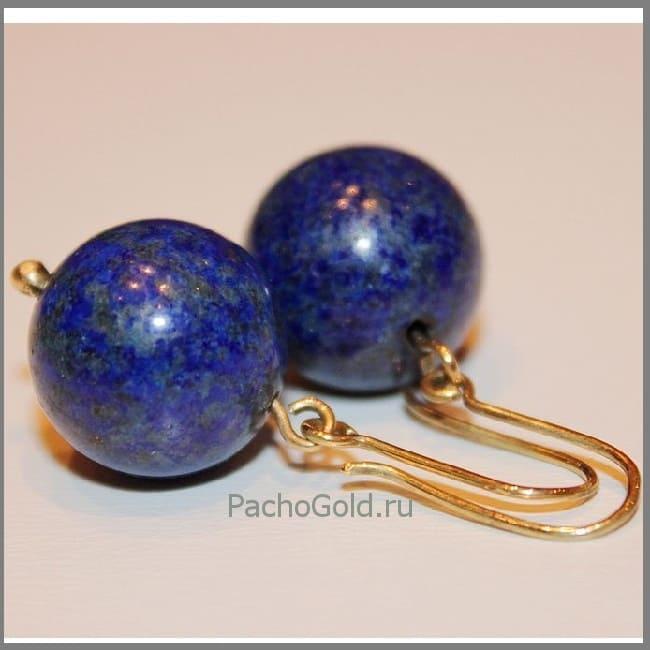 Женские лазуритовые сережки из золота Выбери меня