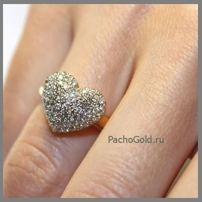 Женское кольцо Сердце из бриллиантов ручной работы на заказ