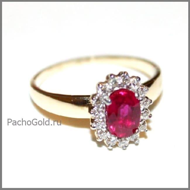 Женское кольцо из золота Королевский рубин