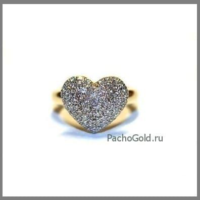 Женское кольцо из золота Сердце из бриллиантов ручной работы