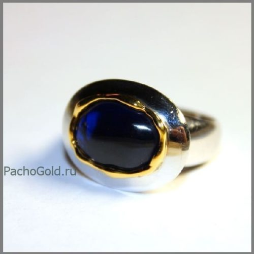 Женское кольцо с крупным сапфиром precious ручной работы