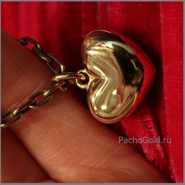 Золотая подвеска кулон Сердце в подарок