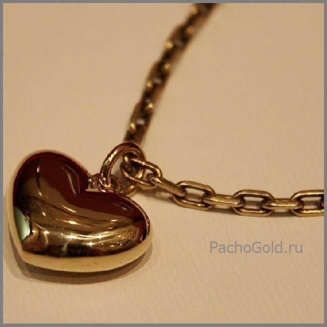 Золотая подвеска Сердце