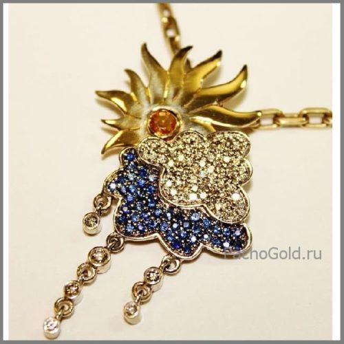 Золотой женский кулон ручной работы Солнечный дождь