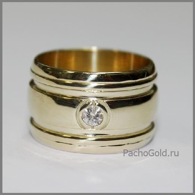Золотое широкое кольцо с камнем Солнечная дорога