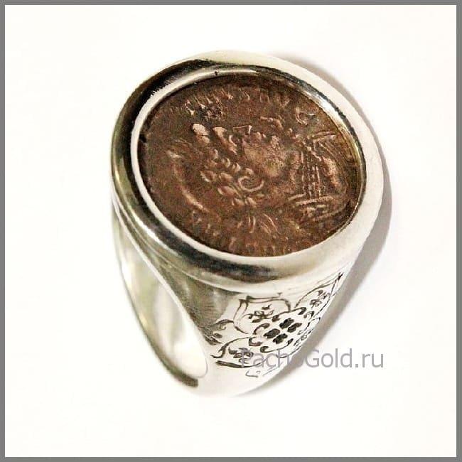 Золотое кольцо из монеты на заказ