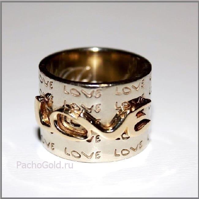 Золотое кольцо с гравировкой Love на заказ