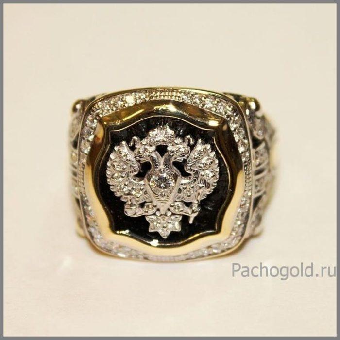 Золотое мужское кольцо с бриллиантами Император