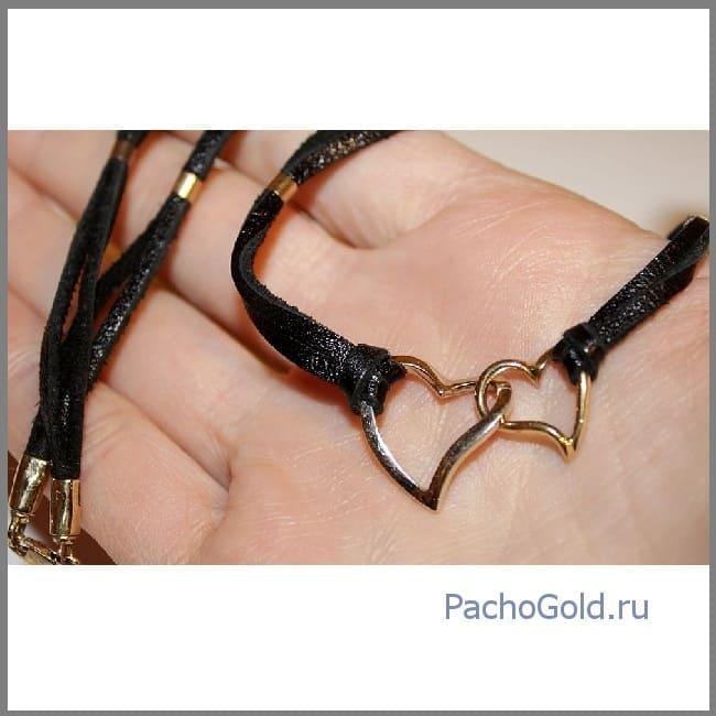 Золотая подвеска Два сердца на шнурке
