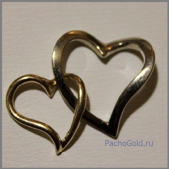 Два золотые сердца для влюбленных