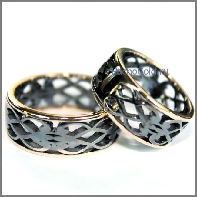 Обручальные кольца Влюбленные из золота с чернением