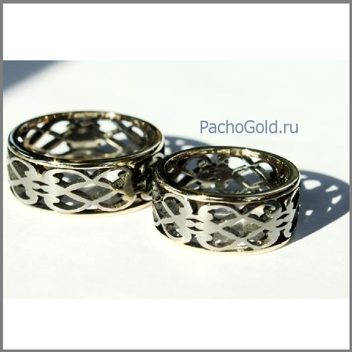 Золотые парные обручальные кольца Влюбленные ручной работы