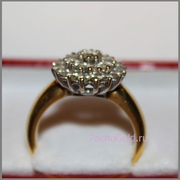 Изготовление золотого кольца на заказ Цветок из бриллиантов