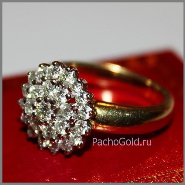 Изящное кольцо из желтого золота Цветок из бриллиантов