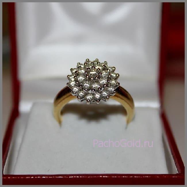 Изящное кольцо на заказ Цветок из бриллиантов