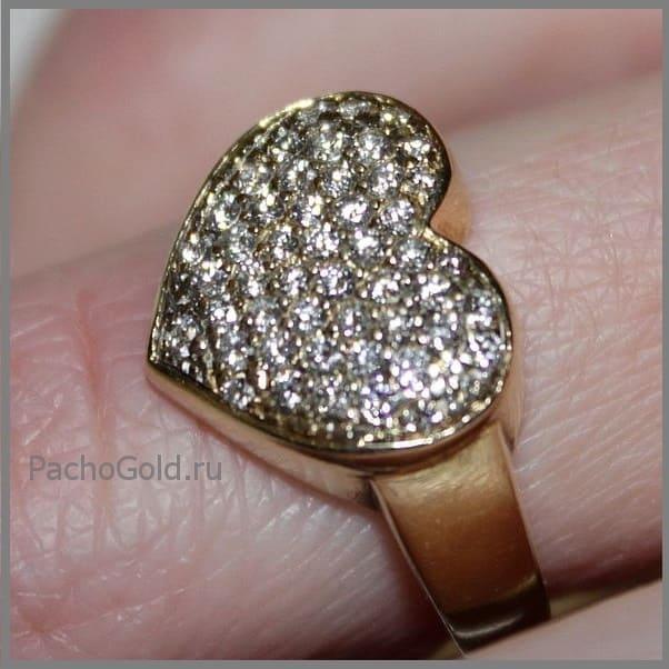Кольцо Бриллиантовое сердце ручной работы