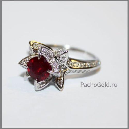 Кольцо с рубином Королевский лотос