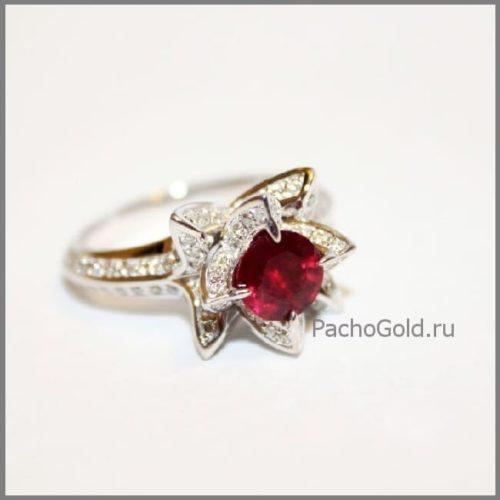 Кольцо для женщины Королевский лотос с рубином ручной работы