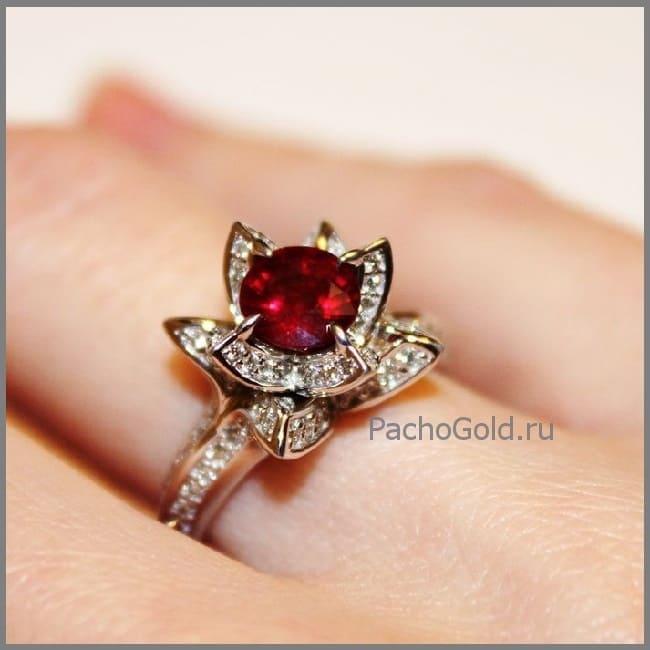 Кольцо с рубином для женщин на заказ Королевский лотос