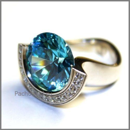 Кольцо для женщины с большим топазом на заказ Devaloka